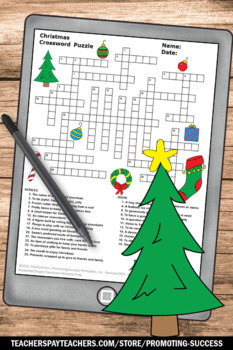 Christmas Crossword Puzzle Secular NO PREP Bell Ringer