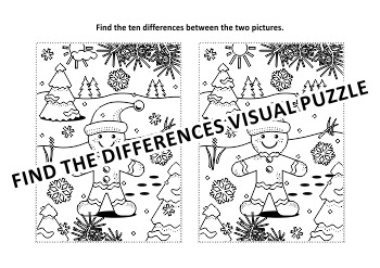 Christmas Activities: Find the Differences and Coloring Page with Ginger Man