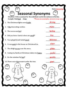 Synonyms Christmas Grammar Christmas Christmas Activities English Language Arts