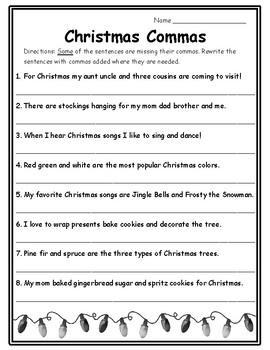 Commas Christmas Activities English Christmas Grammar Christmas 2nd Ela