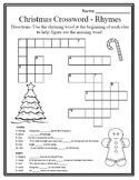 Christmas Rhyme Christmas Phonics Christmas Grammar Christmas Crossword Puzzle