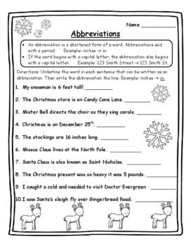 abbreviations christmas grammar christmas activities language arts