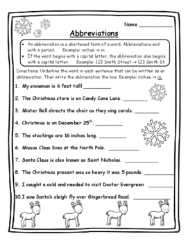 Abbreviations Christmas Grammar Christmas Activities Langu