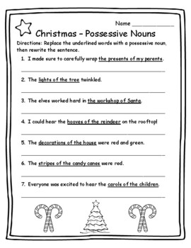 Possessive Nouns Christmas Grammar Christmas Activities Grammar ...