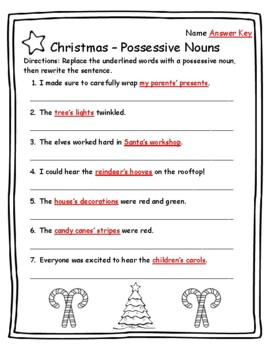 Possessive Nouns Christmas Grammar Christmas Activities Grammar Christmas Nouns