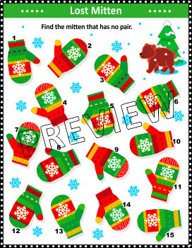 Christmas Activities: Lost Mitten Visual Puzzle, Non-CU