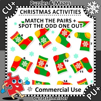 Christmas Activities: Lost Sock Visual Puzzle, CU
