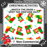 Christmas Activities: Lost Sock Visual Puzzle, Non-CU