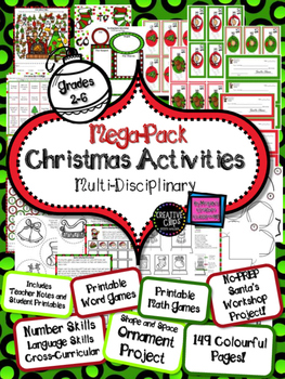 Christmas MEGA PACK Multiplication, Addition, Base-Ten, Geometry