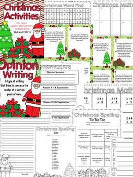 Christmas Activities Math & ELA Grades 3-5