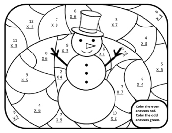 3rd Christmas Activities Math Multiplication Color by Number Christmas 3rd Math