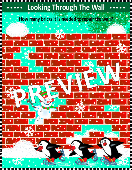 Christmas Activities: Math Puzzle with Holes in Brick Wall, Non-CU