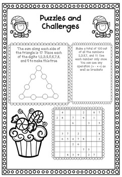 Christmas Activities- Math Puzzles and Games for Middle and Early High