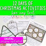 Christmas Activities Middle School & High School 12 Reading Activities
