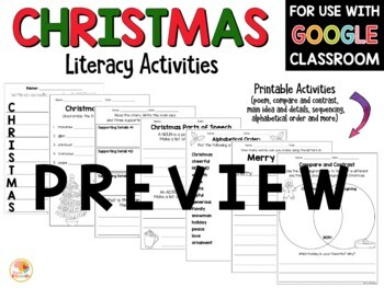 Christmas Literacy Activities No Prep