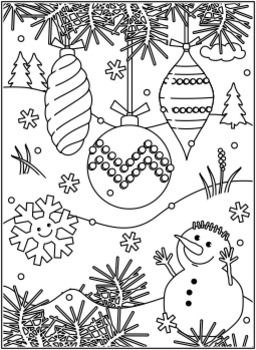 Christmas Activities: Ornaments Find the Differences and Coloring Page, CU
