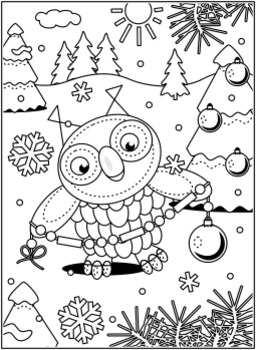 Christmas Activities: Owl 2 Find the Differences and Coloring Page