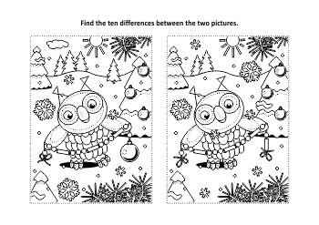 Christmas Activities: Owl 2 Find the Differences and Coloring Page, CU