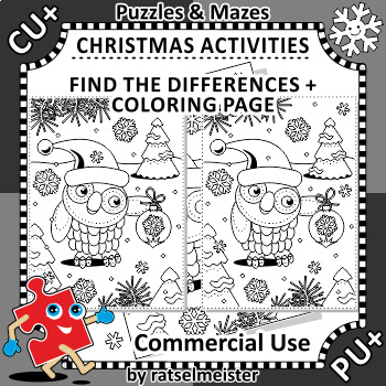 Christmas Activities: Owl Find the Differences and Coloring Page, CU