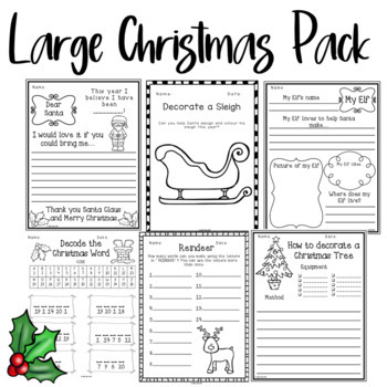 christmas activities pack by unique ideas with mrs s tpt