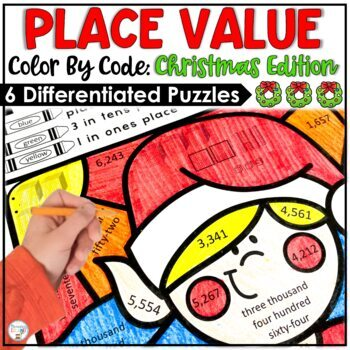 Christmas Activities Place Value Color by Code Differentiated