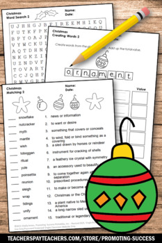 No Prep Christmas Worksheets, Vocabulary & Writing Activities, Crossword Puzzle