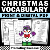No Prep Christmas Activities, 4th 5th Grade Christmas Vocabulary Worksheets