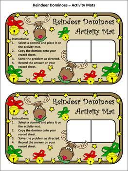 Christmas Activities: Reindeer Dominoes Christmas Math Game Activity