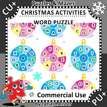 Christmas Activities: Round Words Puzzle, CU