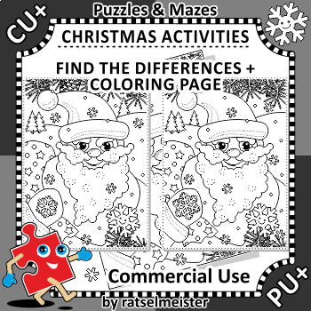 Christmas Activities: Santa Find the Differences and Coloring Page, CU