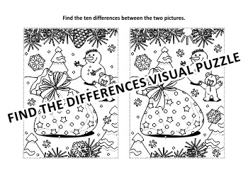 Christmas Activities: Santa's Mittens Find the Differences and Coloring Page