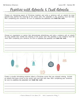 Christmas Writing Activities - Adjectives, Adverbs, Verbs & more!