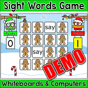 Christmas Activities - Sight Words Memory Game Demo - SmartBoards and Computers