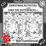 Christmas Activities: Snowman Find the Differences and Col