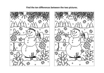 Christmas Activities: Snowman Find the Differences and Coloring Page, CU