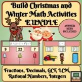 Christmas Activities Winter Math Bundle Fractions and Decimals GCF and LCM