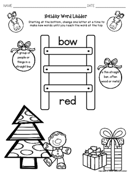 Christmas Activities Word Ladder Puzzles for ELA