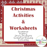 Christmas Activities & Worksheets - Sub Tubs, Poetry, Writing, Craft, Coloring