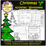 Christmas Activities - Worksheets - Writing prompt & paper(School Designhcf)