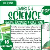 Life Science Reading Comprehension Passages & Questions {Bundle} Gr.5-6 (PDF)