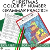 Christmas Activities for Middle School Color By Number Grammar Practice