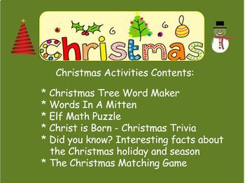 Christmas Activities (for the classroom)