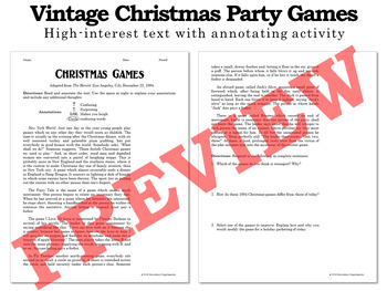 Christmas Activities from History