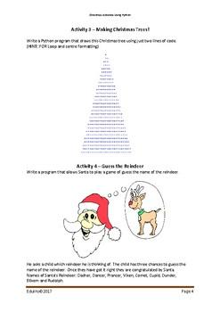 Christmas Activities using the Python Programming Language