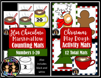 Christmas Activity Bundle (Roll and Cover, Math Game, Play dough, Counting Mats)
