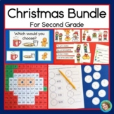 Christmas Activity Bundle - 2nd Grade (Graphs, 100s charts, Reading, & Time)