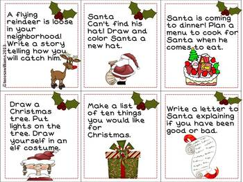 Christmas Activity Cards  Writing, Language, and Math