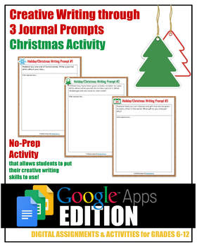 Digital Christmas Activity: 3 Creative Writing Journal Prompts