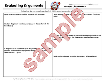 "Christmas Activity Argument Analysis  ""Is Santa Real?"""