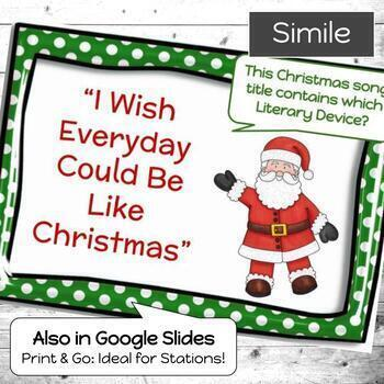 Christmas Activity   Literary Devices Digital Task Cards